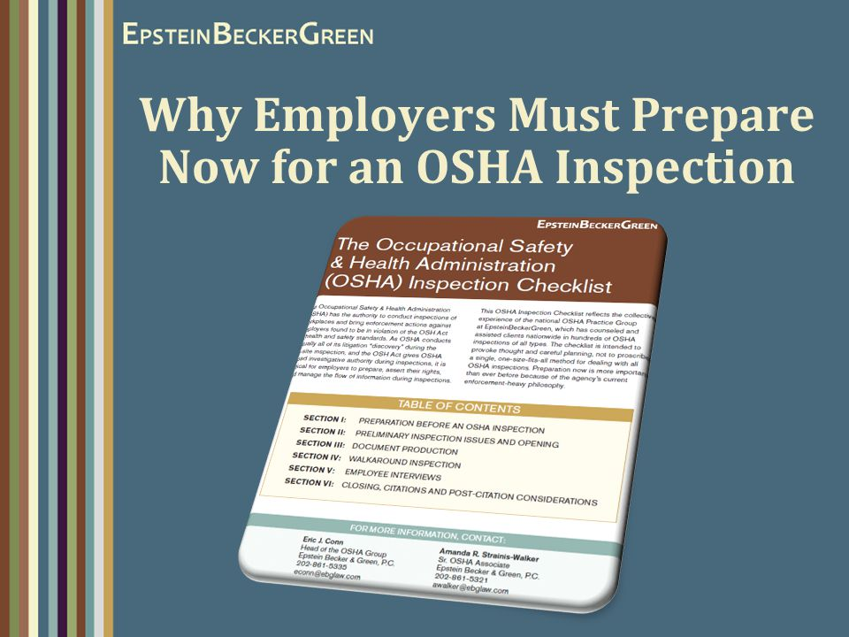 Why Employers Must Prepare Now for an OSHA Inspection