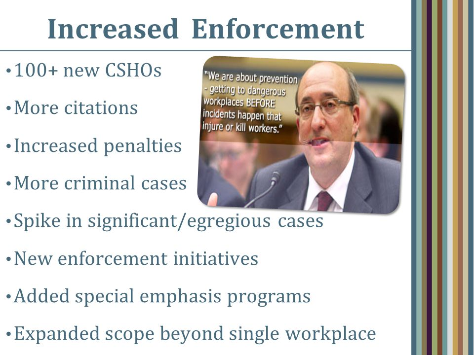 Increased Enforcement 100+ new CSHOs More citations Increased penalties More criminal cases Spike in significant/egregious cases New enforcement initi