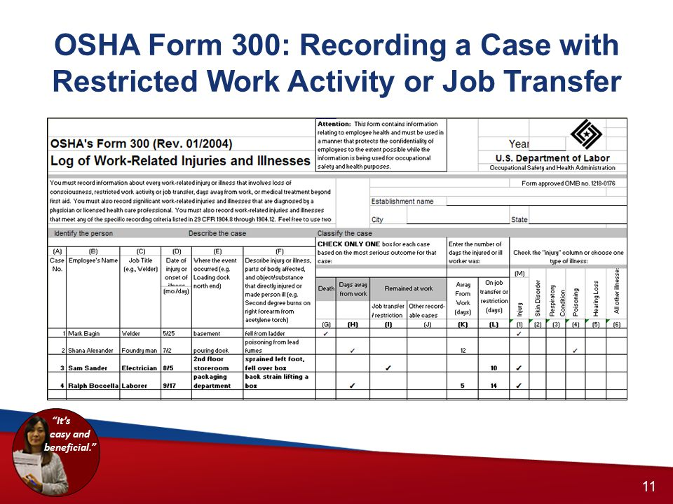 OSHA Form 300: Recording a Case with Restricted Work Activity or Job Transfer 10 11 It's easy and beneficial.