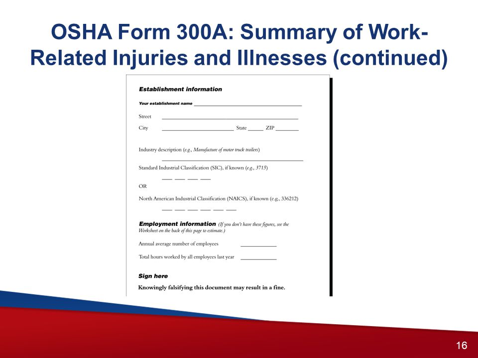 OSHA Form 300A: Summary of Work- Related Injuries and Illnesses (continued) 15 16