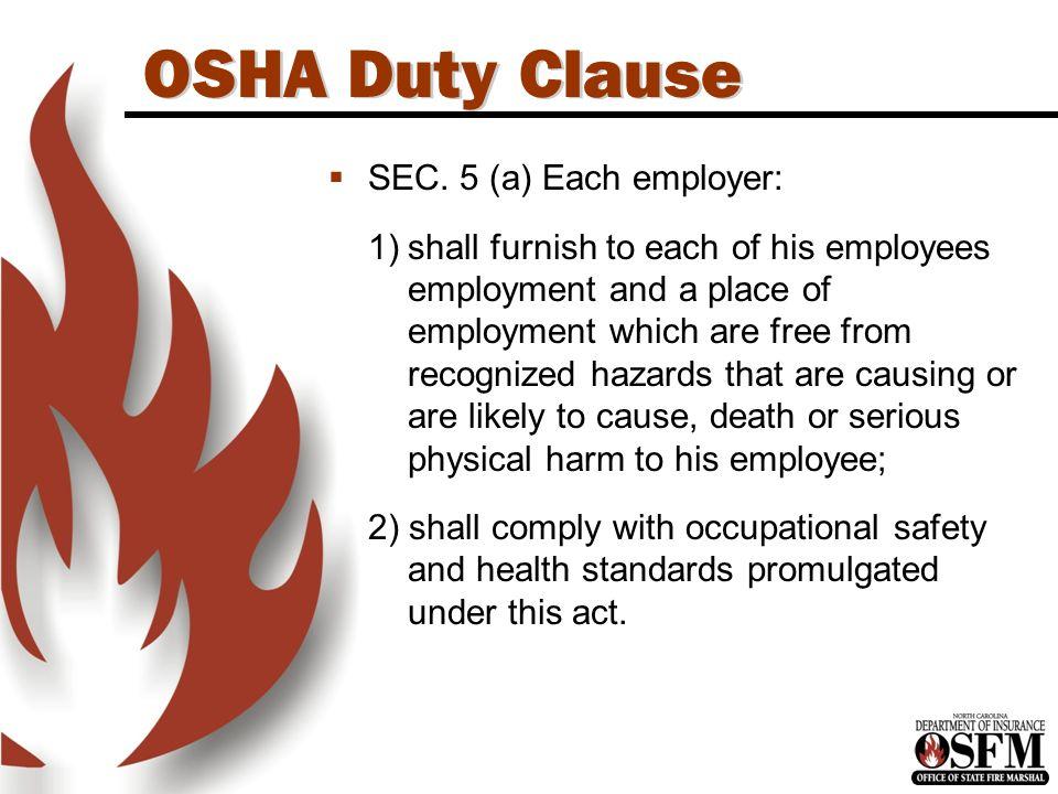 OSHA Duty Clause  SEC.