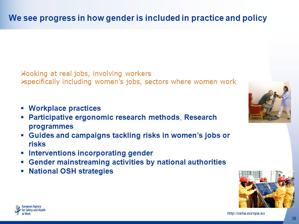 http://osha.europa.eu 38 We see progress in how gender is included in practice and policy  Workplace practices  Participative ergonomic research met