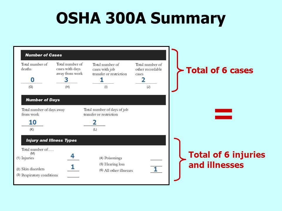 OSHA 300A Summary 0 3 1 2 10 2 4 1 1 Total of 6 cases Total of 6 injuries and illnesses =
