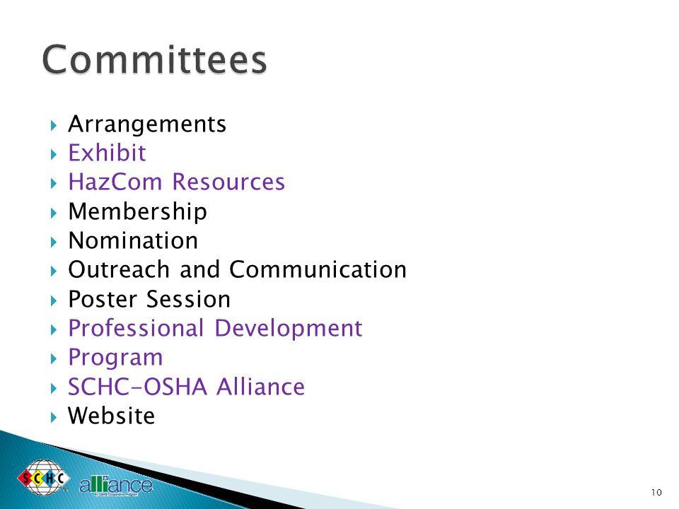  Arrangements  Exhibit  HazCom Resources  Membership  Nomination  Outreach and Communication  Poster Session  Professional Development  Progr