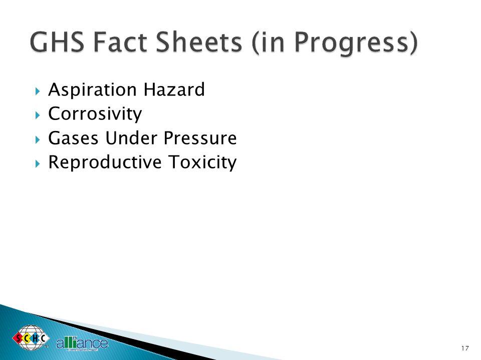  Aspiration Hazard  Corrosivity  Gases Under Pressure  Reproductive Toxicity 17