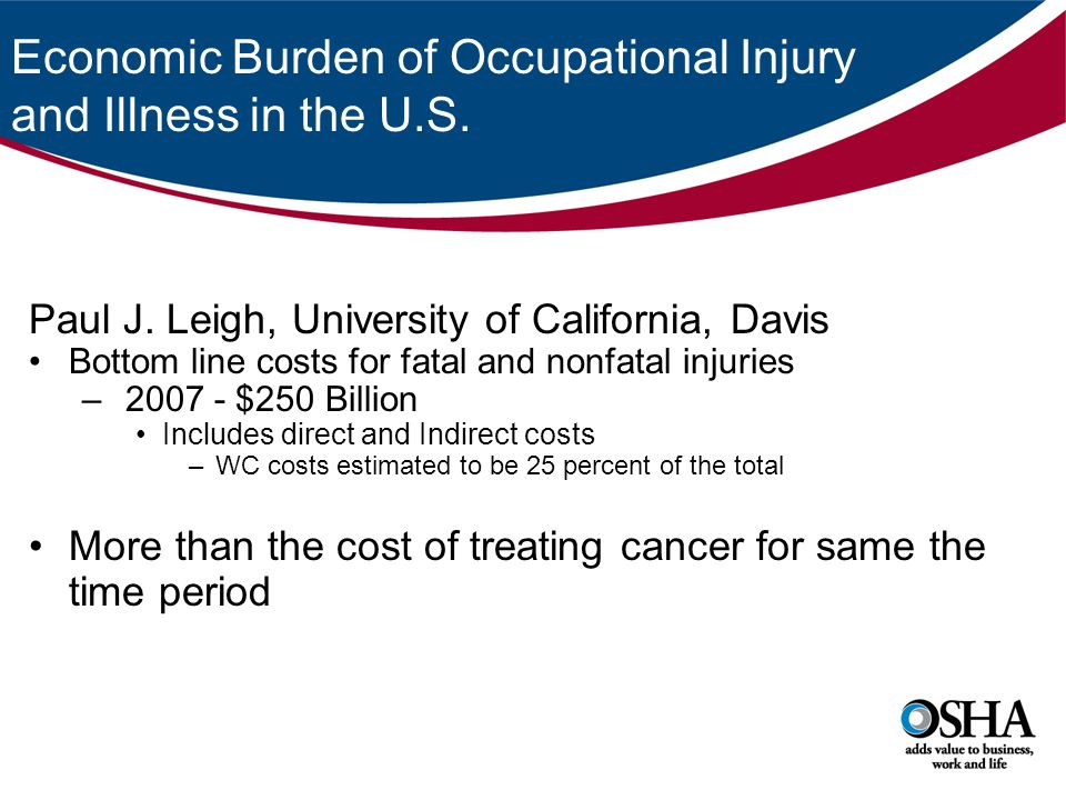 Economic Burden of Occupational Injury and Illness in the U.S. Paul J. Leigh, University of California, Davis Bottom line costs for fatal and nonfatal