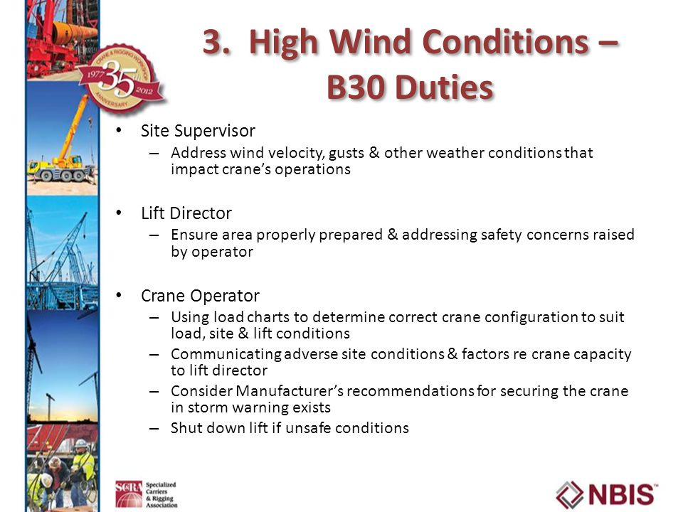 3. High Wind Conditions – B30 Duties Site Supervisor – Address wind velocity, gusts & other weather conditions that impact crane's operations Lift Dir