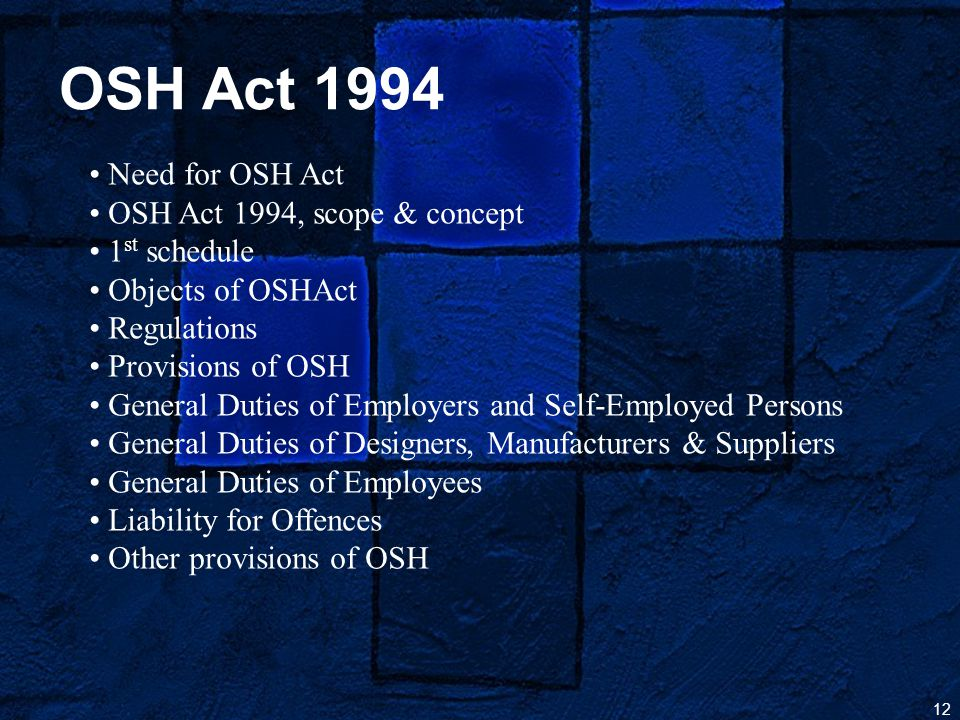 12 OSH Act 1994 Need for OSH Act OSH Act 1994, scope & concept 1 st schedule Objects of OSHAct Regulations Provisions of OSH General Duties of Employers and Self-Employed Persons General Duties of Designers, Manufacturers & Suppliers General Duties of Employees Liability for Offences Other provisions of OSH