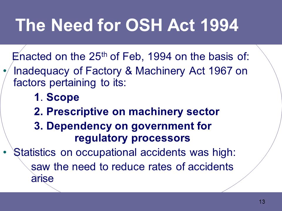 13 The Need for OSH Act 1994 Enacted on the 25 th of Feb, 1994 on the basis of: Inadequacy of Factory & Machinery Act 1967 on factors pertaining to its: 1.