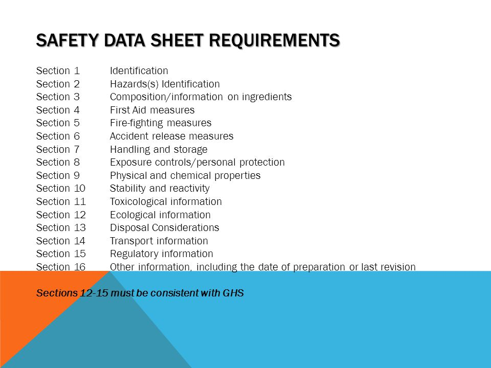 SAFETY DATA SHEET REQUIREMENTS Section 1Identification Section 2Hazards(s) Identification Section 3Composition/information on ingredients Section 4Fir