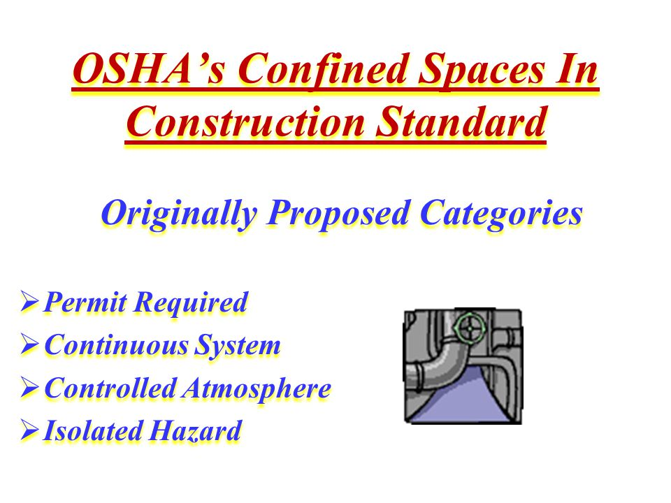 OSHA's Confined Spaces In Construction Standard Originally Proposed Categories  Permit Required  Continuous System  Controlled Atmosphere  Isolated Hazard Originally Proposed Categories  Permit Required  Continuous System  Controlled Atmosphere  Isolated Hazard