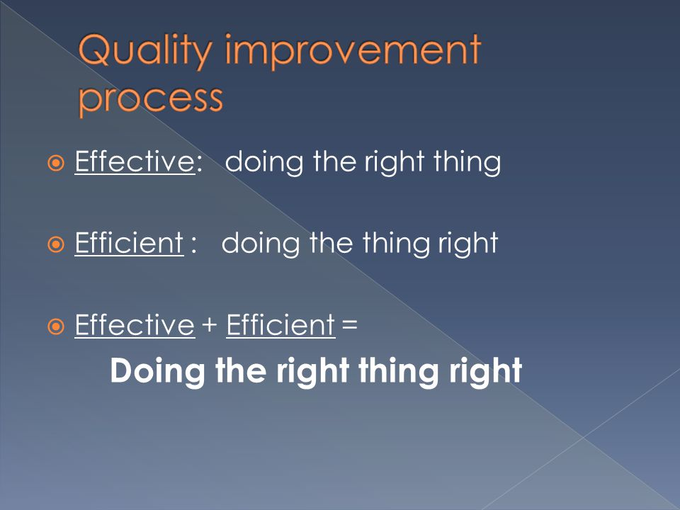  Effective: doing the right thing  Efficient : doing the thing right  Effective + Efficient = Doing the right thing right