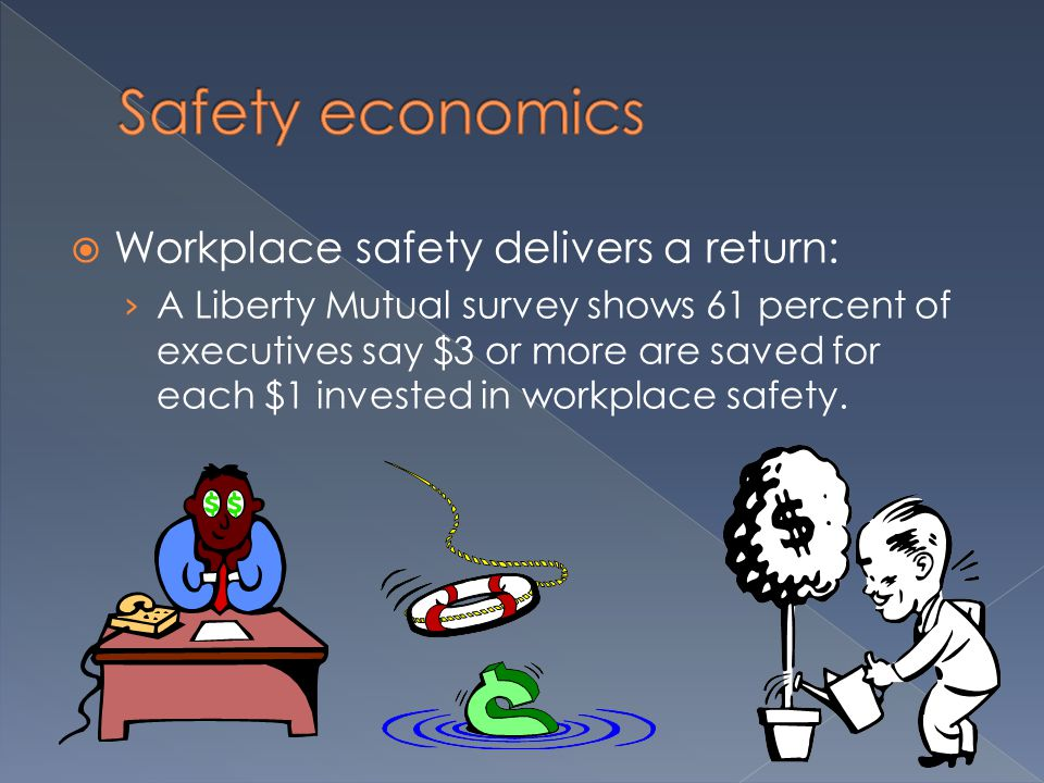  Workplace safety delivers a return: › A Liberty Mutual survey shows 61 percent of executives say $3 or more are saved for each $1 invested in workplace safety.