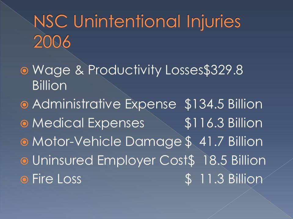  Wage & Productivity Losses$329.8 Billion  Administrative Expense$134.5 Billion  Medical Expenses$116.3 Billion  Motor-Vehicle Damage$ 41.7 Billion  Uninsured Employer Cost$ 18.5 Billion  Fire Loss$ 11.3 Billion