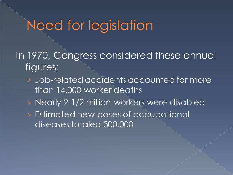 In 1970, Congress considered these annual figures: › Job-related accidents accounted for more than 14,000 worker deaths › Nearly 2-1/2 million workers were disabled › Estimated new cases of occupational diseases totaled 300,000