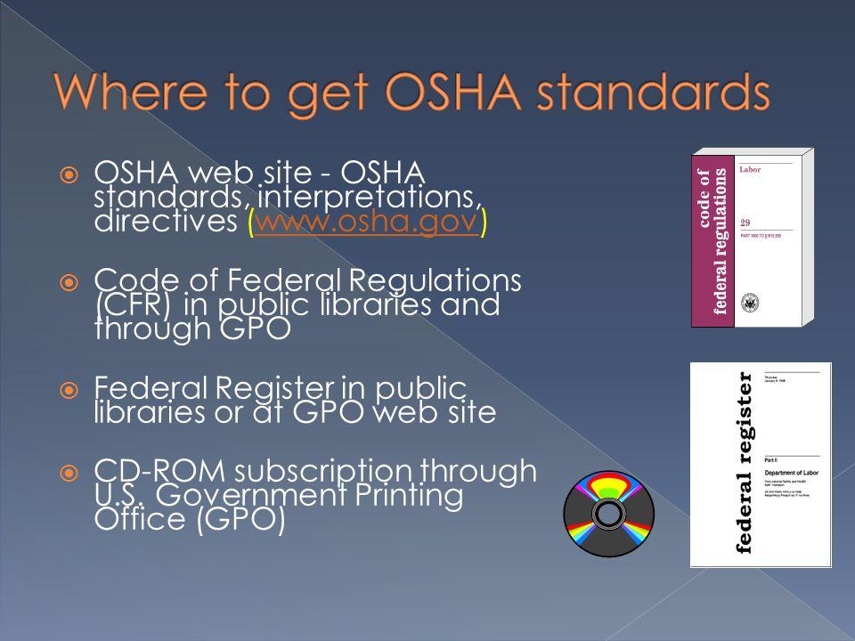 OSHA web site - OSHA standards, interpretations, directives (www.osha.gov)www.osha.gov  Code of Federal Regulations (CFR) in public libraries and through GPO  Federal Register in public libraries or at GPO web site  CD-ROM subscription through U.S.
