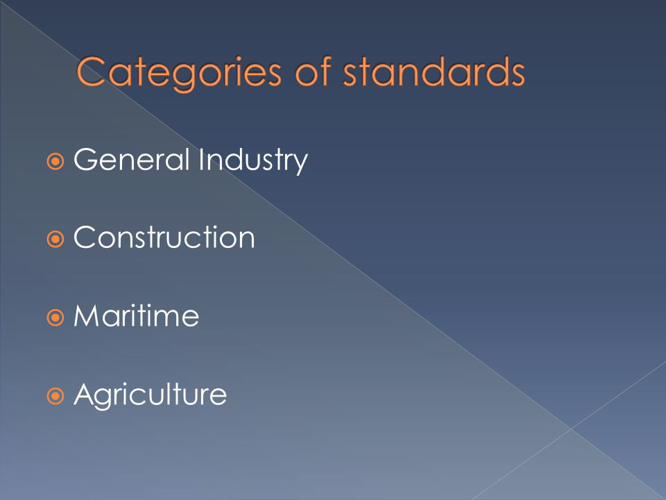  General Industry  Construction  Maritime  Agriculture