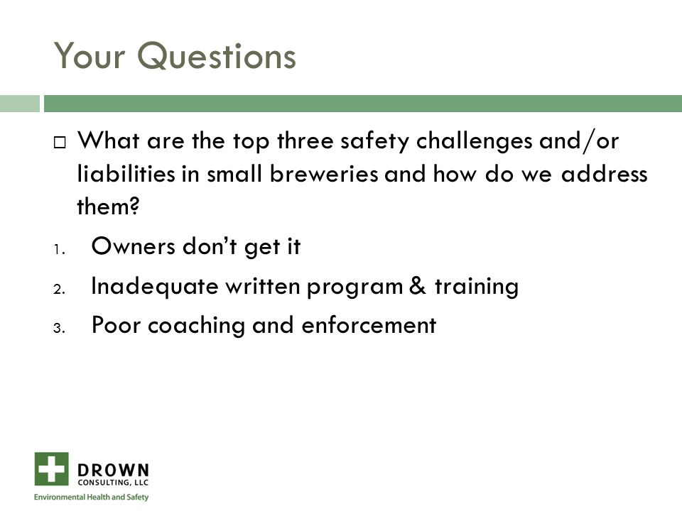 Oversights  Incomplete/non-existent written program  Inadequate training ( >10 emp.