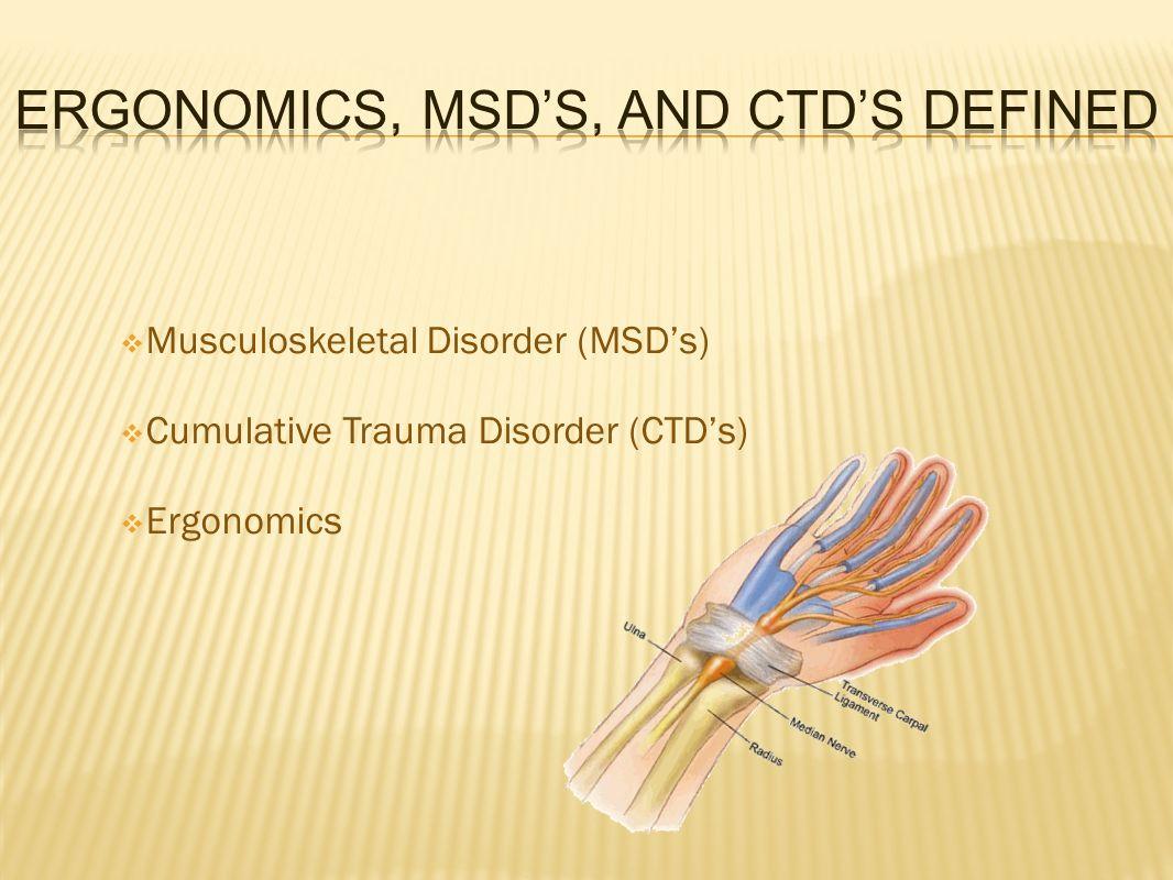  Musculoskeletal Disorder (MSD's)  Cumulative Trauma Disorder (CTD's)  Ergonomics