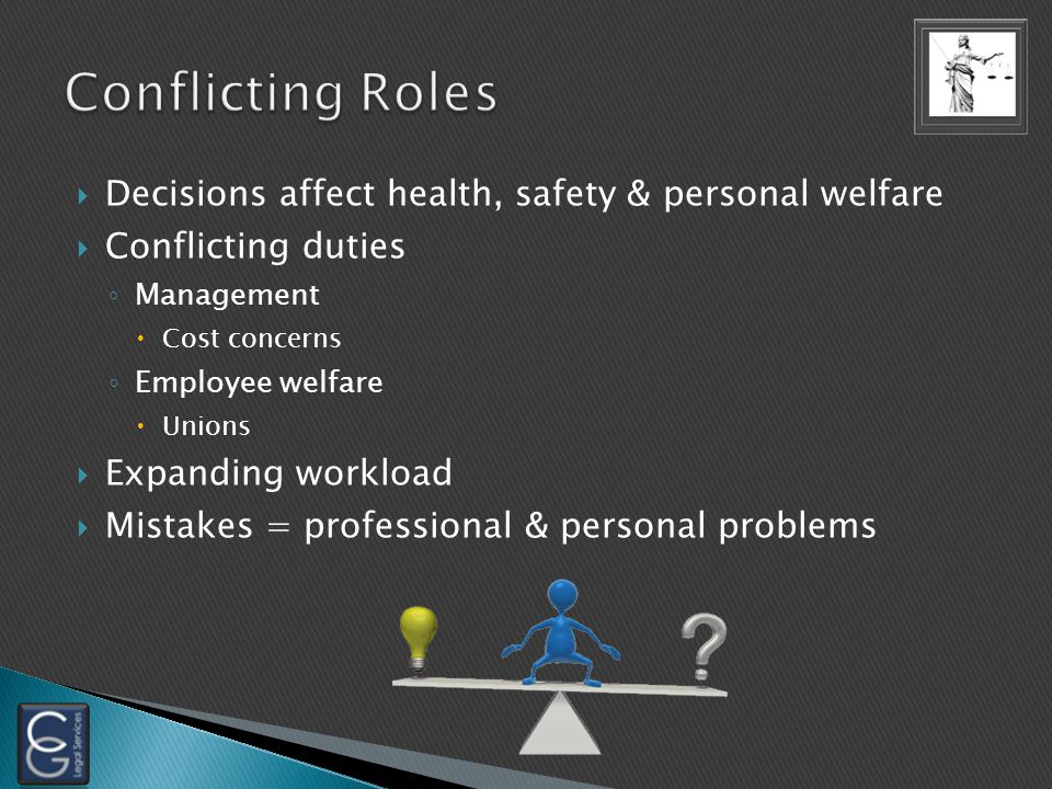  Decisions affect health, safety & personal welfare  Conflicting duties ◦ Management  Cost concerns ◦ Employee welfare  Unions  Expanding workloa