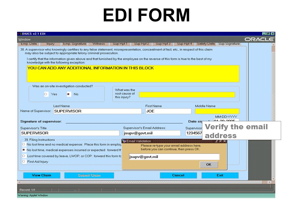 EDI FORM Verify the email address