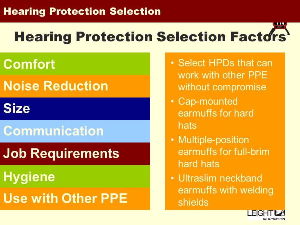 Hearing Protection Selection Comfort Noise ReductionSizeCommunicationJob Requirements Hygiene Use with Other PPE Hearing Protection Selection Factors The right hearing protector should feel comfortable One protector may not satisfy all workers Offer a variety of earplugs or earmuffs to meet varying worker needs and preferences Selecting HPDs with suitable attenuation for noise environment Avoid overprotection in marginal noise environments Consider banded earplugs for intermittent noise or electronic earmuffs for impact noise.