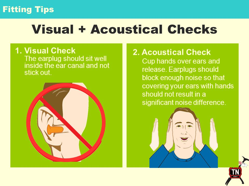 Fitting Tips Visual + Acoustical Checks 2. Acoustical Check Cup hands over ears and release.