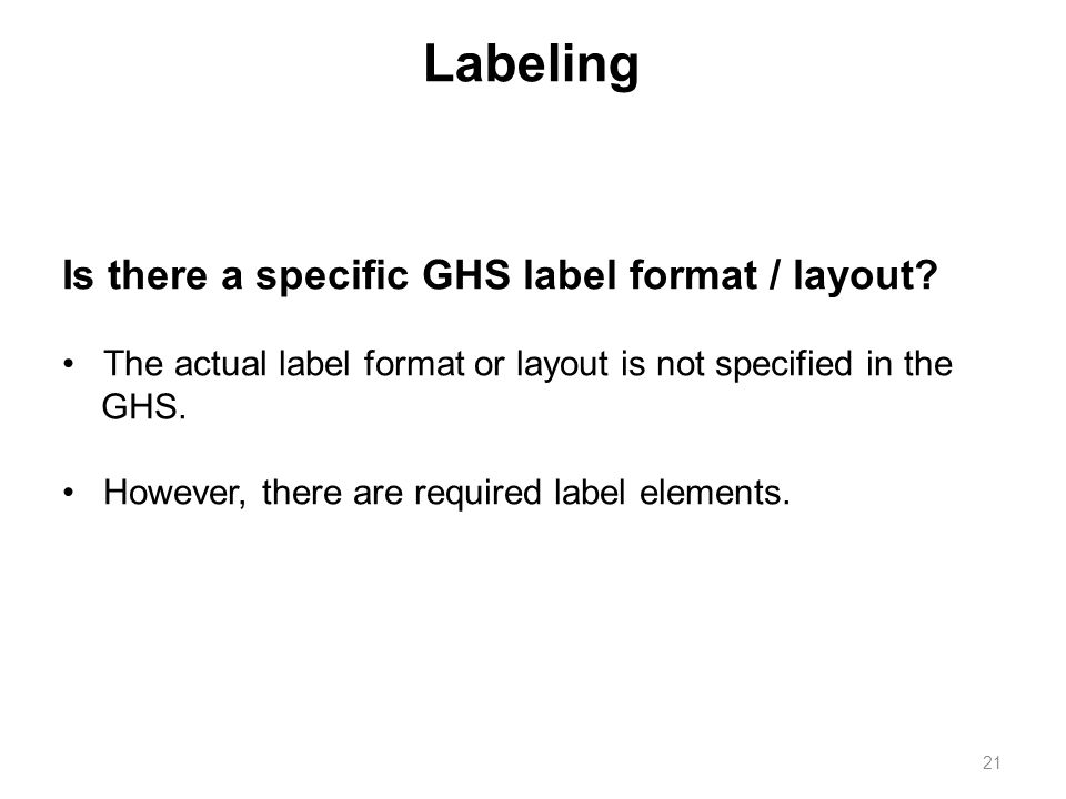 Is there a specific GHS label format / layout.