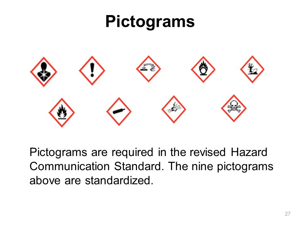 27 Pictograms are required in the revised Hazard Communication Standard.