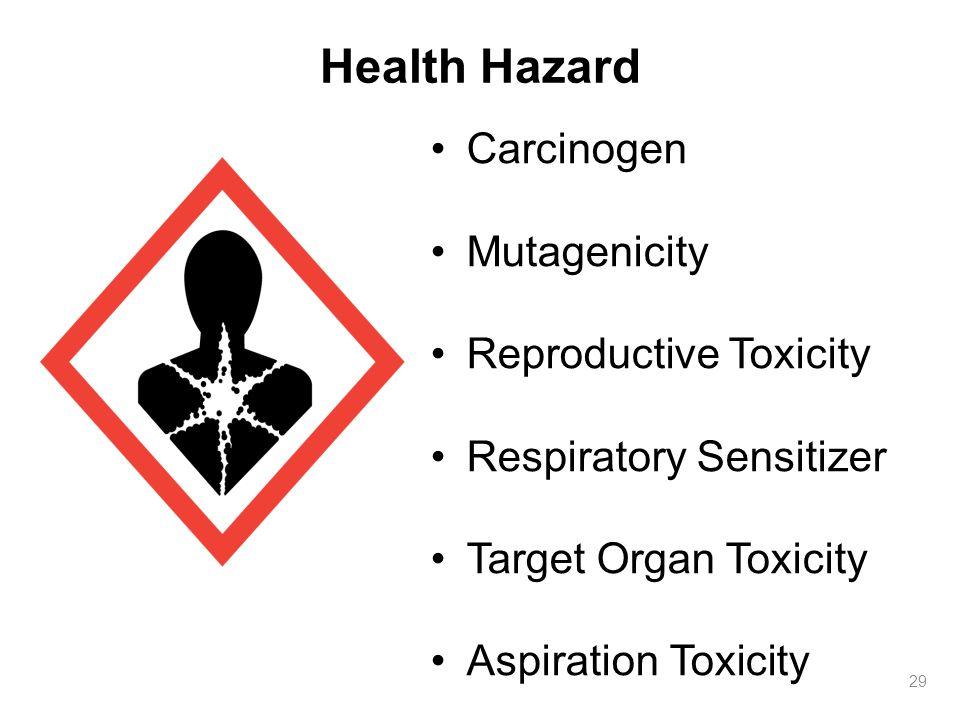 Health Hazard 29 Carcinogen Mutagenicity Reproductive Toxicity Respiratory Sensitizer Target Organ Toxicity Aspiration Toxicity