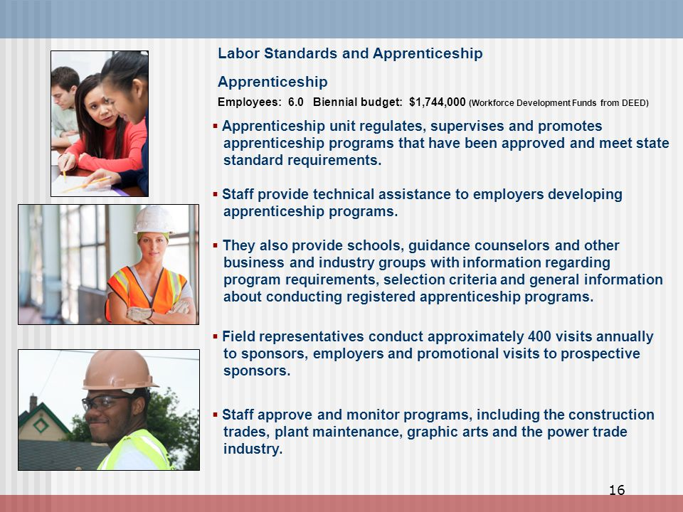 Apprenticeship  Apprenticeship unit regulates, supervises and promotes apprenticeship programs that have been approved and meet state standard requirements.