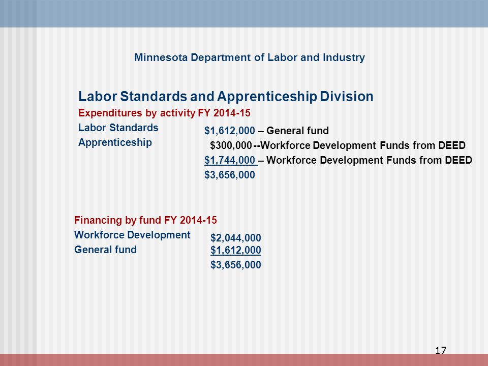 Minnesota Department of Labor and Industry Financing by fund FY 2014-15 Workforce Development General fund $2,044,000 $1,612,000 $3,656,000 Labor Standards and Apprenticeship Division Expenditures by activity FY 2014-15 Labor Standards Apprenticeship $1,612,000 – General fund $300,000--Workforce Development Funds from DEED $1,744,000 – Workforce Development Funds from DEED $3,656,000 17