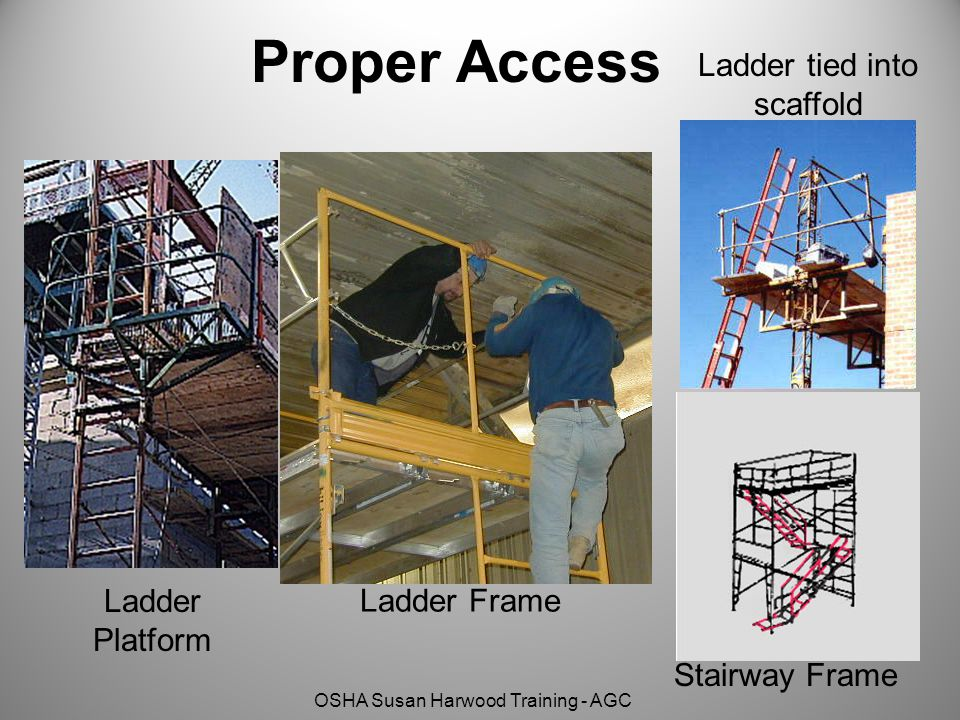 OSHA Susan Harwood Training - AGC Proper Access Ladder tied into scaffold Ladder Platform Ladder Frame Stairway Frame