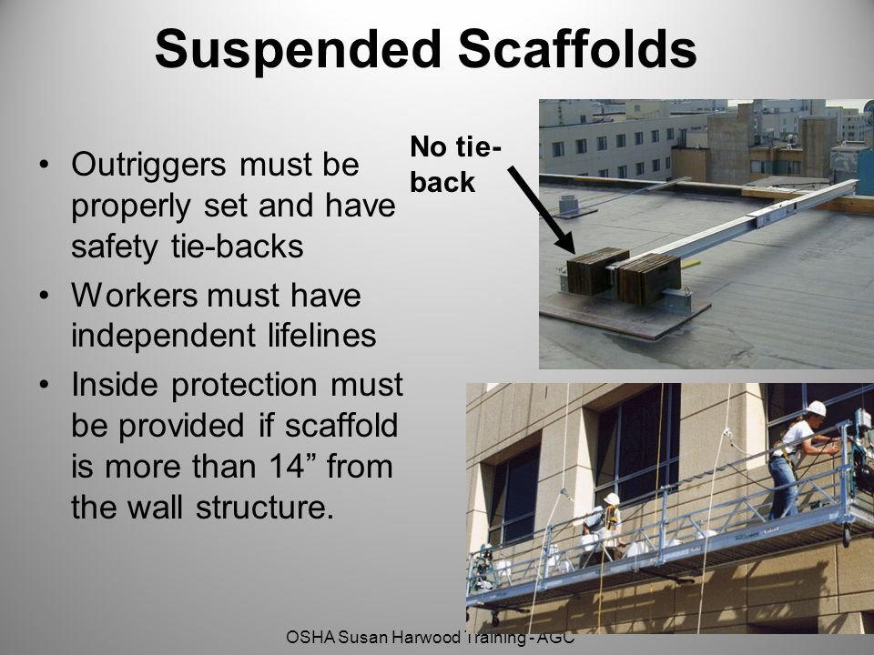 OSHA Susan Harwood Training - AGC Suspended Scaffolds Outriggers must be properly set and have safety tie-backs Workers must have independent lifelines Inside protection must be provided if scaffold is more than 14 from the wall structure.