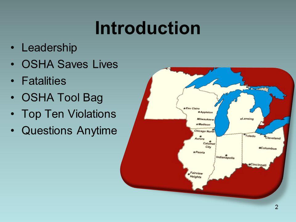 Introduction Leadership OSHA Saves Lives Fatalities OSHA Tool Bag Top Ten Violations Questions Anytime 2