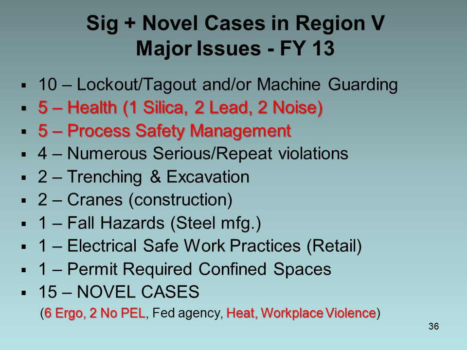 36 Sig + Novel Cases in Region V Major Issues - FY 13  10 – Lockout/Tagout and/or Machine Guarding  5 – Health (1 Silica, 2 Lead, 2 Noise)  5 – Process Safety Management  4 – Numerous Serious/Repeat violations  2 – Trenching & Excavation  2 – Cranes (construction)  1 – Fall Hazards (Steel mfg.)  1 – Electrical Safe Work Practices (Retail)  1 – Permit Required Confined Spaces  15 – NOVEL CASES 6 Ergo, 2 No PELHeat, Workplace Violence (6 Ergo, 2 No PEL, Fed agency, Heat, Workplace Violence)