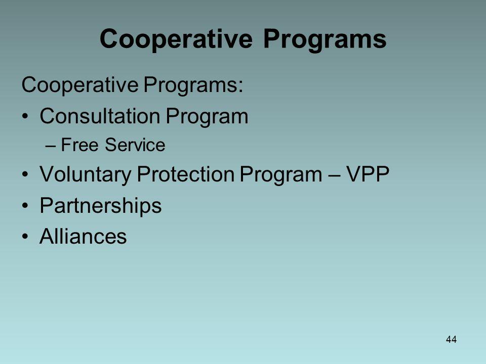 44 Cooperative Programs Cooperative Programs: Consultation Program –Free Service Voluntary Protection Program – VPP Partnerships Alliances