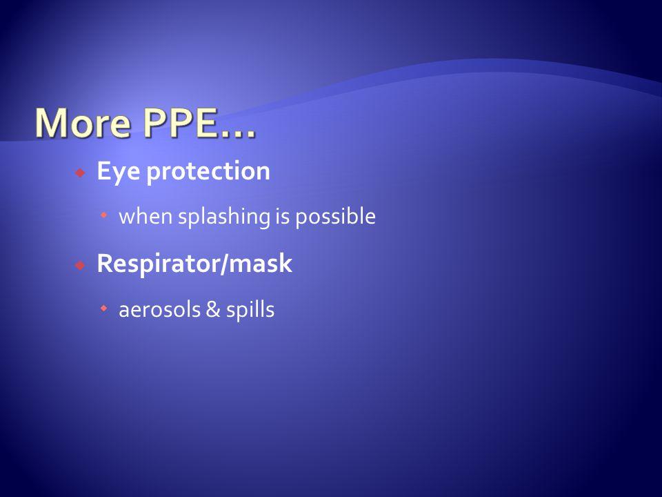  Eye protection  when splashing is possible  Respirator/mask  aerosols & spills