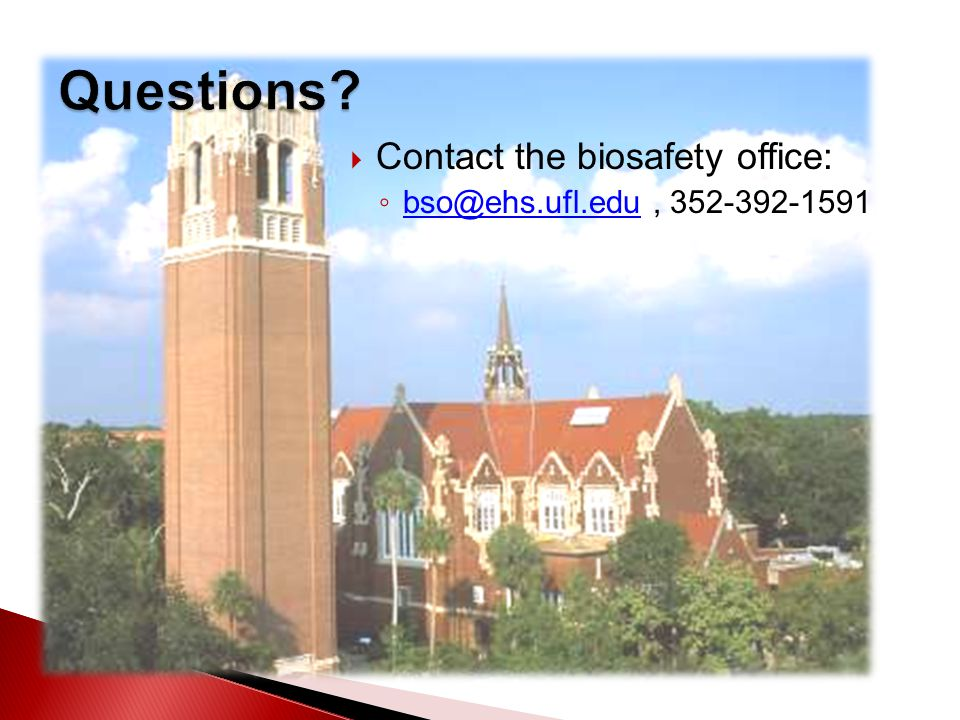  Contact the biosafety office: ◦ bso@ehs.ufl.edu, 352-392-1591 bso@ehs.ufl.edu