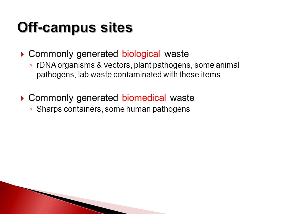  Commonly generated biological waste ◦ rDNA organisms & vectors, plant pathogens, some animal pathogens, lab waste contaminated with these items  Commonly generated biomedical waste ◦ Sharps containers, some human pathogens