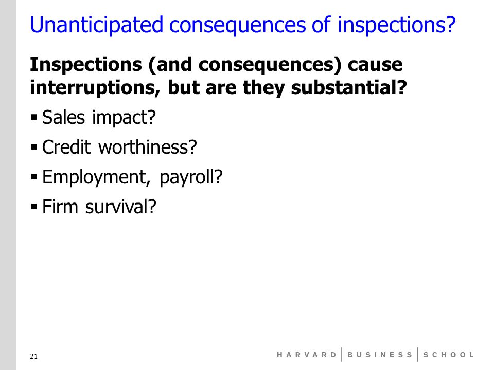 Unanticipated consequences of inspections.