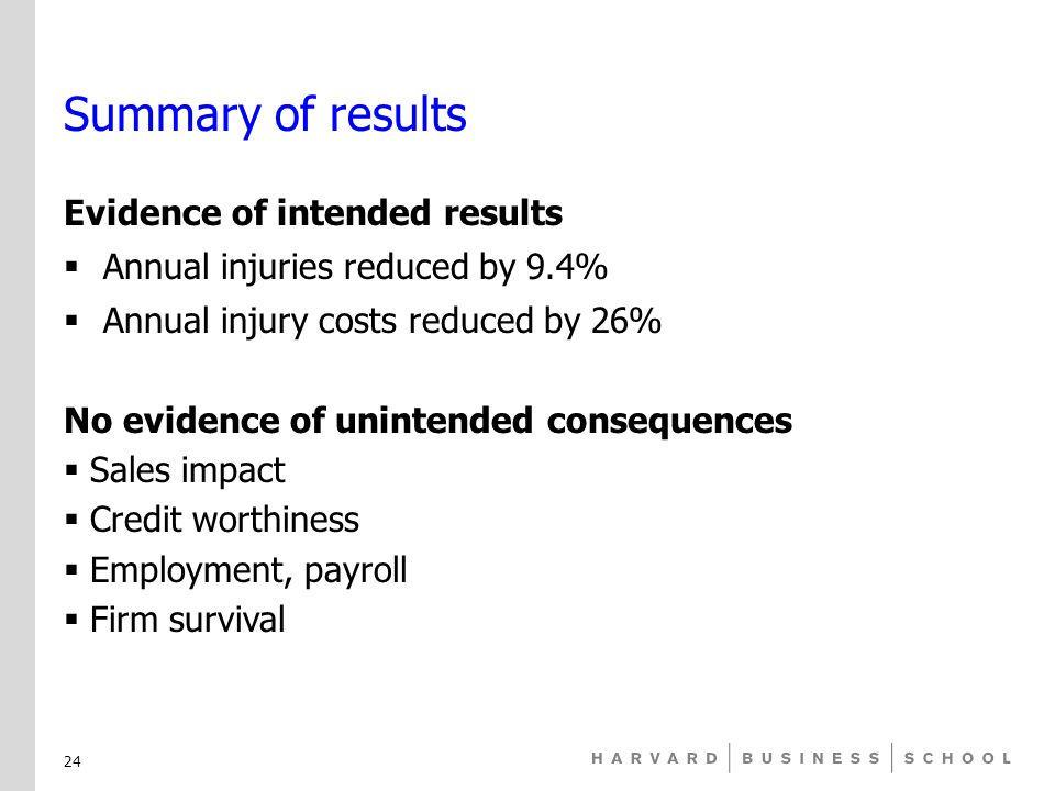 Summary of results Evidence of intended results  Annual injuries reduced by 9.4%  Annual injury costs reduced by 26% No evidence of unintended consequences  Sales impact  Credit worthiness  Employment, payroll  Firm survival 24