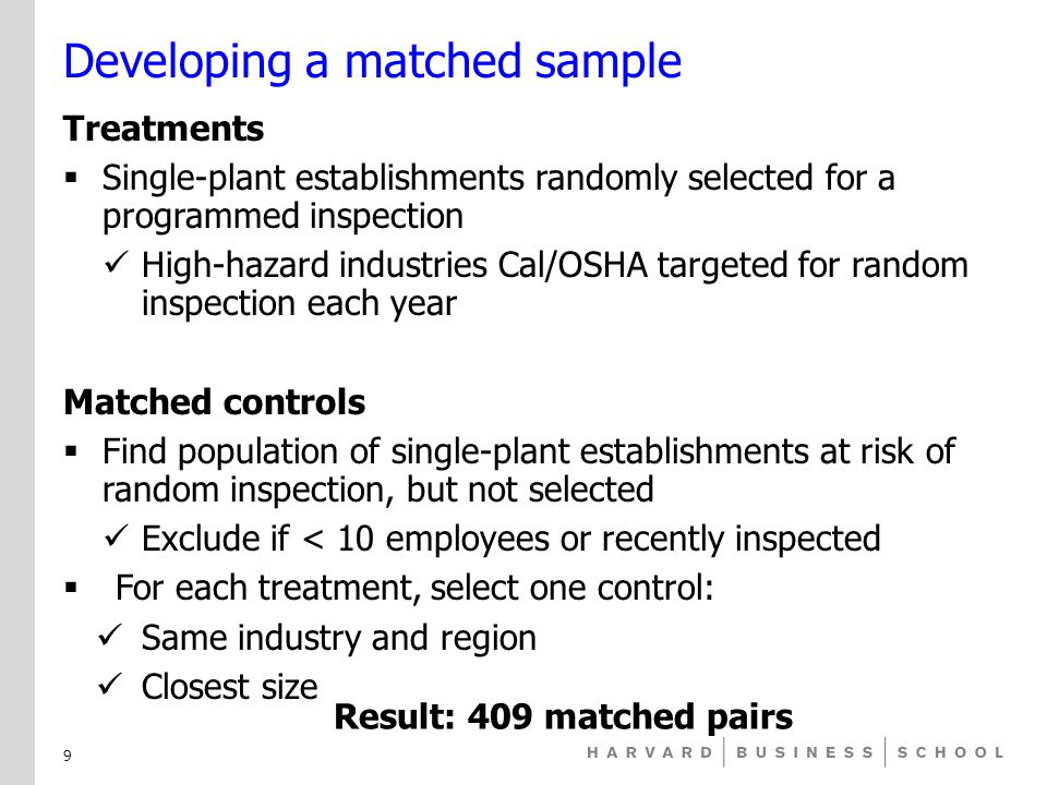 Developing a matched sample Treatments  Single-plant establishments randomly selected for a programmed inspection High-hazard industries Cal/OSHA targeted for random inspection each year Matched controls  Find population of single-plant establishments at risk of random inspection, but not selected Exclude if < 10 employees or recently inspected  For each treatment, select one control: Same industry and region Closest size Result: 409 matched pairs 9