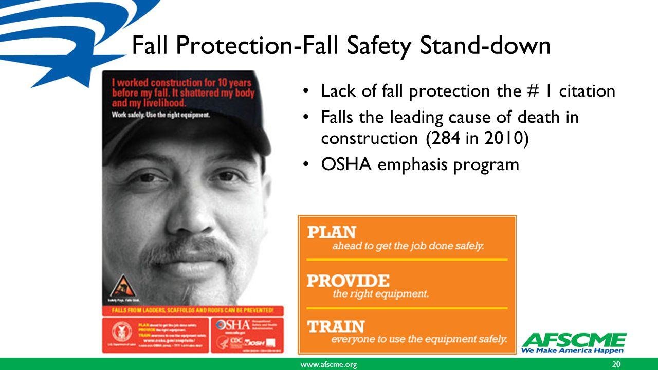 Fall Protection-Fall Safety Stand-down Lack of fall protection the # 1 citation Falls the leading cause of death in construction (284 in 2010) OSHA emphasis program www.afscme.org20