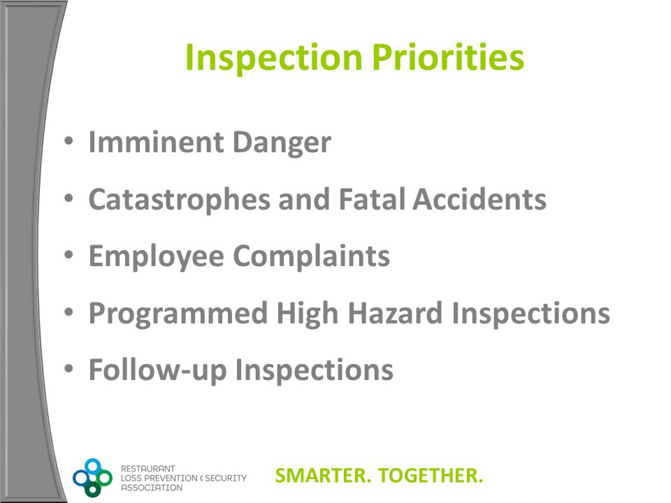 SMARTER. TOGETHER. Inspection Priorities Imminent Danger Catastrophes and Fatal Accidents Employee Complaints Programmed High Hazard Inspections Follo