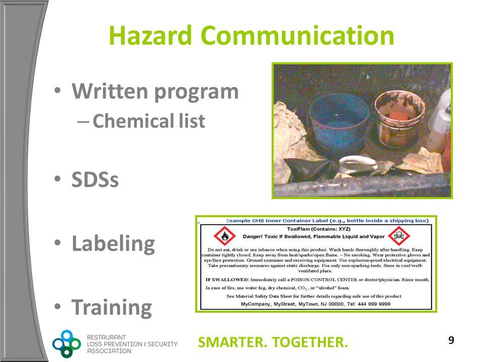 SMARTER. TOGETHER. 9 Hazard Communication Written program – Chemical list SDSs Labeling Training