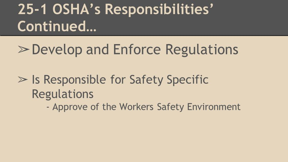 25-1 OSHA's Responsibilities continued… ➢ Conduct Workplace Inspections: ➢ Makes inspections of Employee's environment ➢ Employee's are required to have a safety report on file ➢ Employee's may anonymously contact OSHA