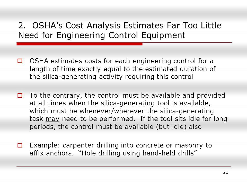 2. OSHA's Cost Analysis Estimates Far Too Little Need for Engineering Control Equipment  OSHA estimates costs for each engineering control for a leng