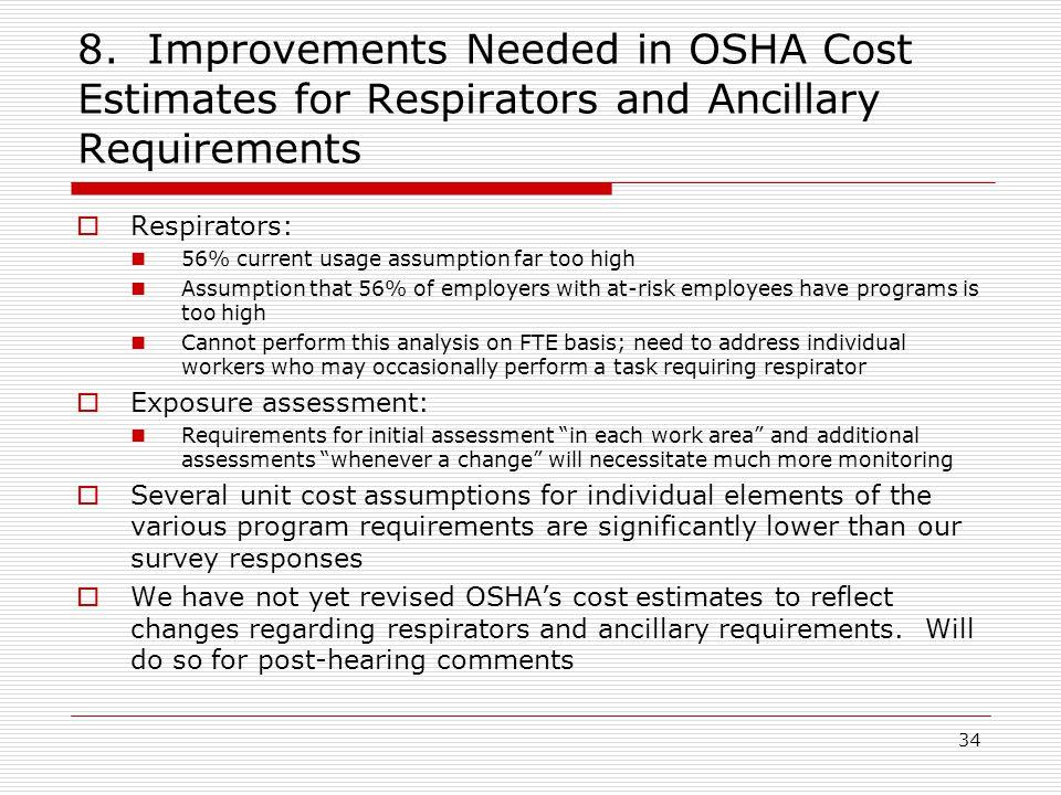 8. Improvements Needed in OSHA Cost Estimates for Respirators and Ancillary Requirements  Respirators: 56% current usage assumption far too high Assu