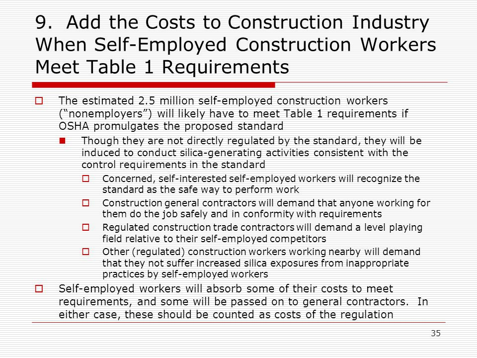 9. Add the Costs to Construction Industry When Self-Employed Construction Workers Meet Table 1 Requirements  The estimated 2.5 million self-employed